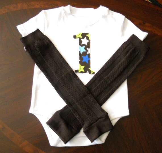 Boys First Birthday Onesie With Legwarmers Ready To Ship Size 12 Months
