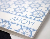 Nautical Notecard Set with striped envelope liner - set of 10 cards by kbatty