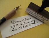 Calligraphy Address Stamp- Custom Wood Handle: Manhattan Style
