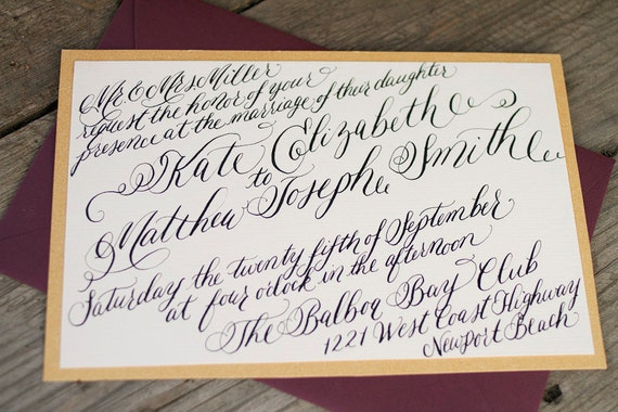 Items Similar To Wedding Calligraphy Invitation Digital
