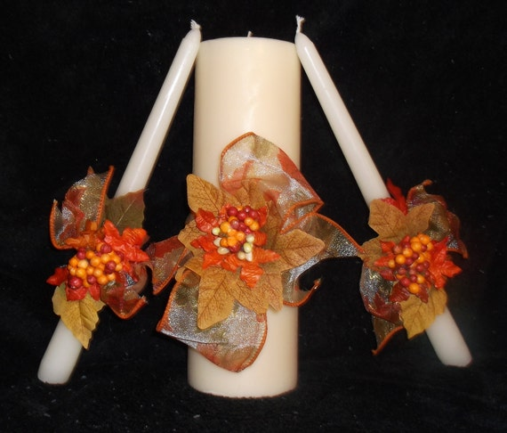 Colorful Autumn 3 Piece Cream Wedding Unity Candle Set - Comes In A Beautiful Wedding Gift Box