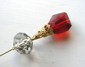 Red Crystal and Filigree Hatpin Brooch Lapel Pin