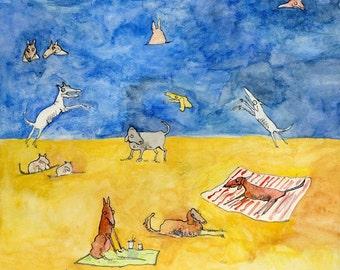 Dogs A La Playa-Large