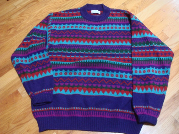 Vintage 1980's United colors of Benetton jacquard crew neck sweater, size L