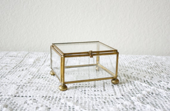 vintage small glass jewelry box
