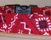 Dog Collar, red bandana print