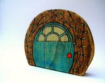 wooden fairy door toy, nursery decor, waldorf toys, wood toddler toys, gnome door