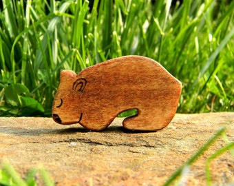 wombat wooden toy, wombat figurine, wombat waldorf toy, wood toy animal