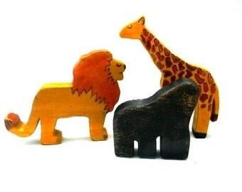 african animals wooden toy set, waldorf african animal toys, wooden lion, waldorf giraffe, gorilla toy, wooden waldorf toys