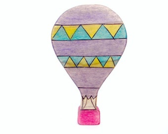 hot air balloon wooden toy,  waldorf toy, hot air balloon figurine, wood toy