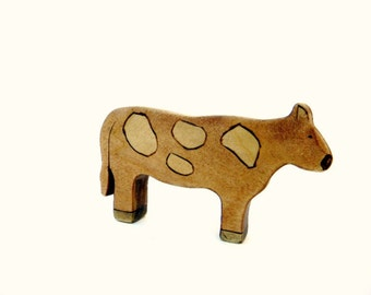 wooden toy cow, waldorf toy cow, cow figurine, wooden farm animals, waldorf farm toys, barnyard animals
