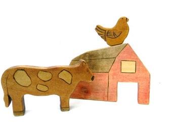 wooden farm toys, waldorf farm toy set, wood farm animal toys, barnyard animal toys
