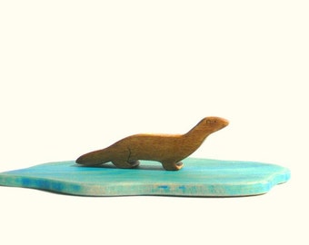 otter wooden toy, waldorf otter toy, otter figurine, weasel toy, wood toy animal