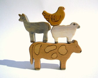 wooden farm animal toys, wood toys, waldorf toy animals, toddler toys, barnyard animal toys, waldorf, wooden toys