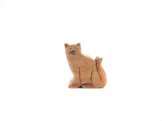 cat waldorf toy, wooden cat toy, cat figurine, eco friendly toys, wood toy cat,