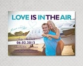 Save the Date Magnet Card Postcard Airplane - Love is in the Air