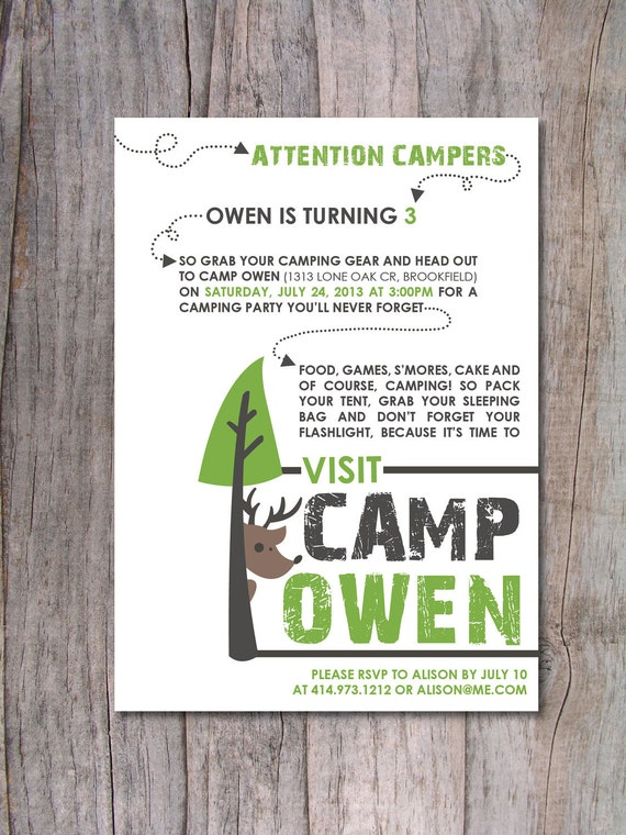 Items Similar To Modern Camping Birthday Party Invitation