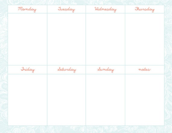 Weekly Schedule Template number 3 JPG & PSD file