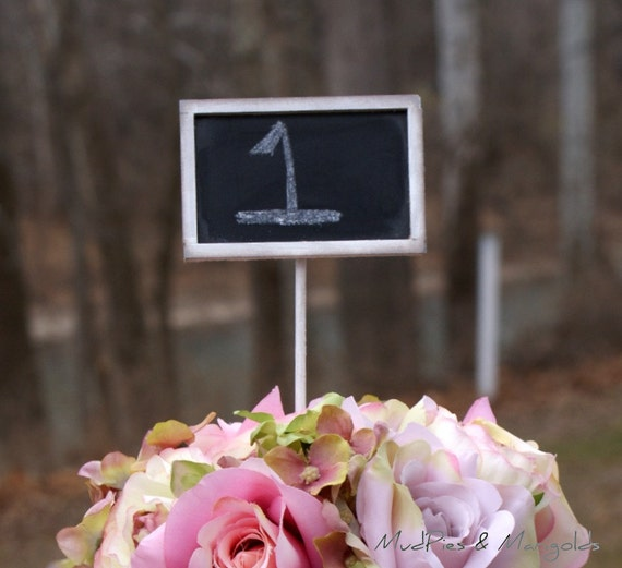 Set of 12 mini chalkboard table numbers YOU pick the COLOR, shabby chic, rustic, southern, coastal, california, woodland