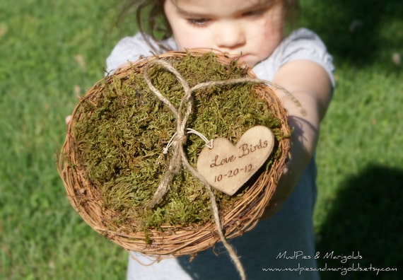 Rustic Bird Nest RIng Bearer Pillow with Personalized Wood Burned Love Birds Charm