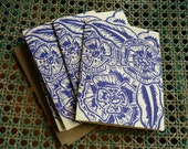 Five hand block printed cards and envelopes