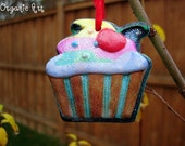 Cupcake Hand Painted Christmas Ornament