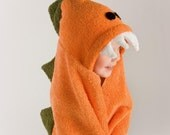 PERSONALIZED Orange Dinosaur Hooded Towel