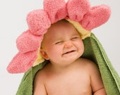 Pink Flower Hooded Towel