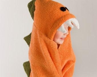 PERSONALIZED Orange Dinosaur Hooded Towel
