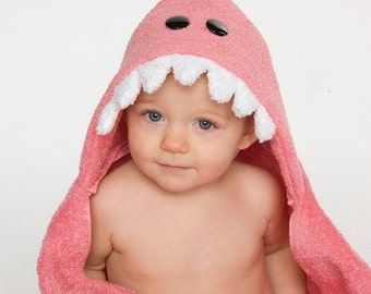 Pink Dinosaur Hooded Towel