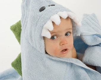 PERSONALIZED Blue Dinosaur Hooded Towel