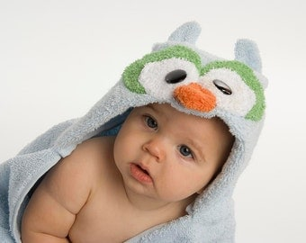 PERSONALIZED Blue Owl Hooded Towel