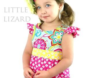 Girls Flutter Dress Sewing Pattern, Girls Dress Pattern, Easy Ruffle Dress PDF Pattern, Flutter Ruffle Sleeve -Baby 6m-8 plus doll