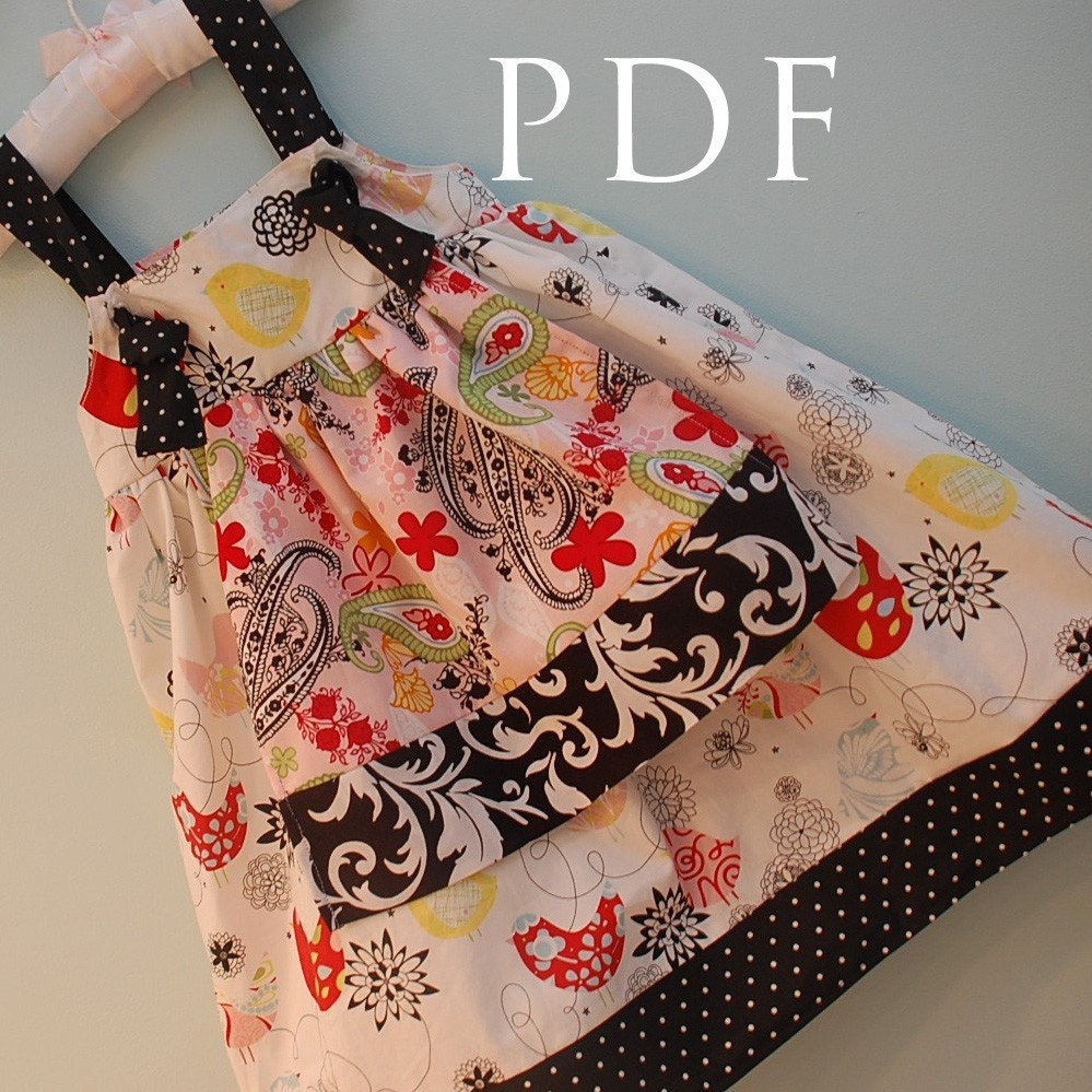 Apron knot dress pattern downloadable sewing tutorial and pdf