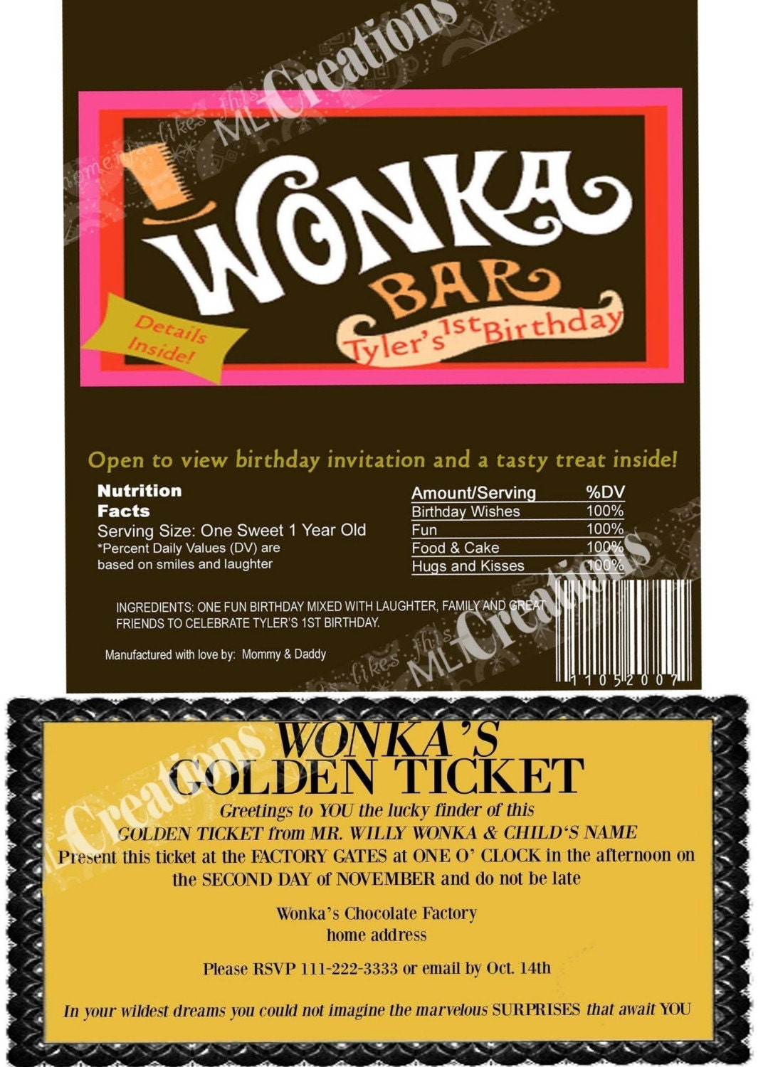 willy wonka golden ticket invitation candy bar wrapper set