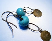 Turquoise and Love Charm Earrings