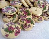 WB10114 - 18mm Garden Painted Design Wood Buttons, 18mm Garden Painted Design Wooden Buttons (10 in 1 set)