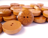 Wood Buttons with Hump Design Flower Crafted - Hump Wooden Buttons, WB10140 (12 in 1 set)