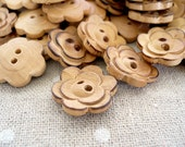 WB10170 - 18mm Flower Crafted Wood Buttons, 18mm Flower Crafted Wooden Buttons (10 in 1 set)