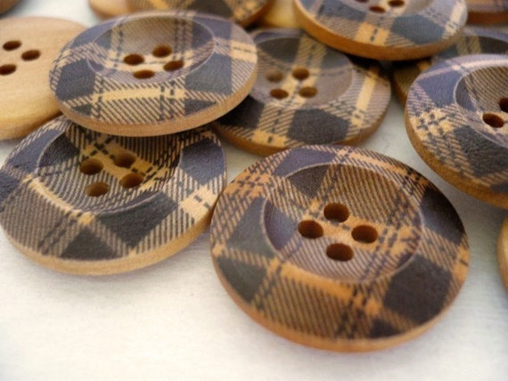 Fabric Alike Painted Design - Wood Button, Wooden Buttons, WB10032 (6 in 1 set)