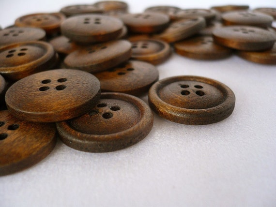 WB09021 - 20mm Hump Design Round Wood Buttons, 20mm Hump Design Round Wooden Buttons (10 in 1 set)