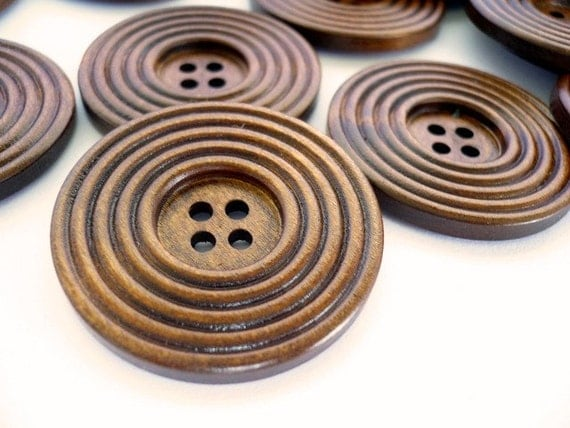 BIG Round Wood buttons, Wooden Buttons, WB10171 (2 in  1set)