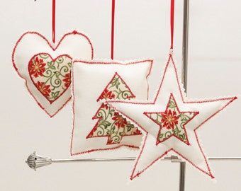 Christmas decorations - set of 3 - Red detail