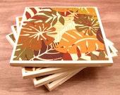 Handmade Coasters Jungle Leaves