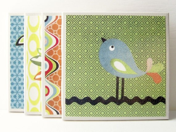 Ceramic Tile Coasters - Offbeat Bird
