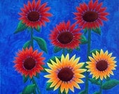 Sunflowers Painting Original Modern Artwork in red orange yellow blue on 16x20 Canvas