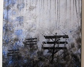 Dusk and the Fog - Original Modern Abstract Painting with texture in silver gray black blue on 16x16 inch canvas