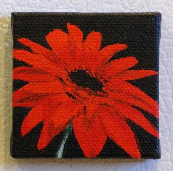 Red Gerber Daisy Mini Painting Refrigerator Art Magnet