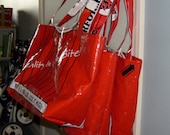 Recycled Feed Sack Set of 3 Reusable Red Livestock Feed Bag Market Bags