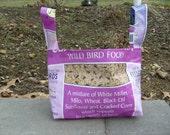 Recycled Feed Sack Purple Bird Seed Easter Basket Gift Storage Basket